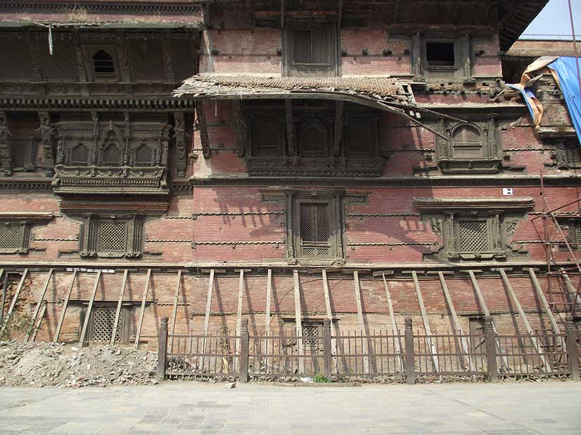 Damaged ancient building in Kathmandu