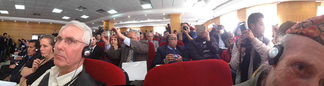 The meeting was well attended with a media scrum of photographers and TV crews.