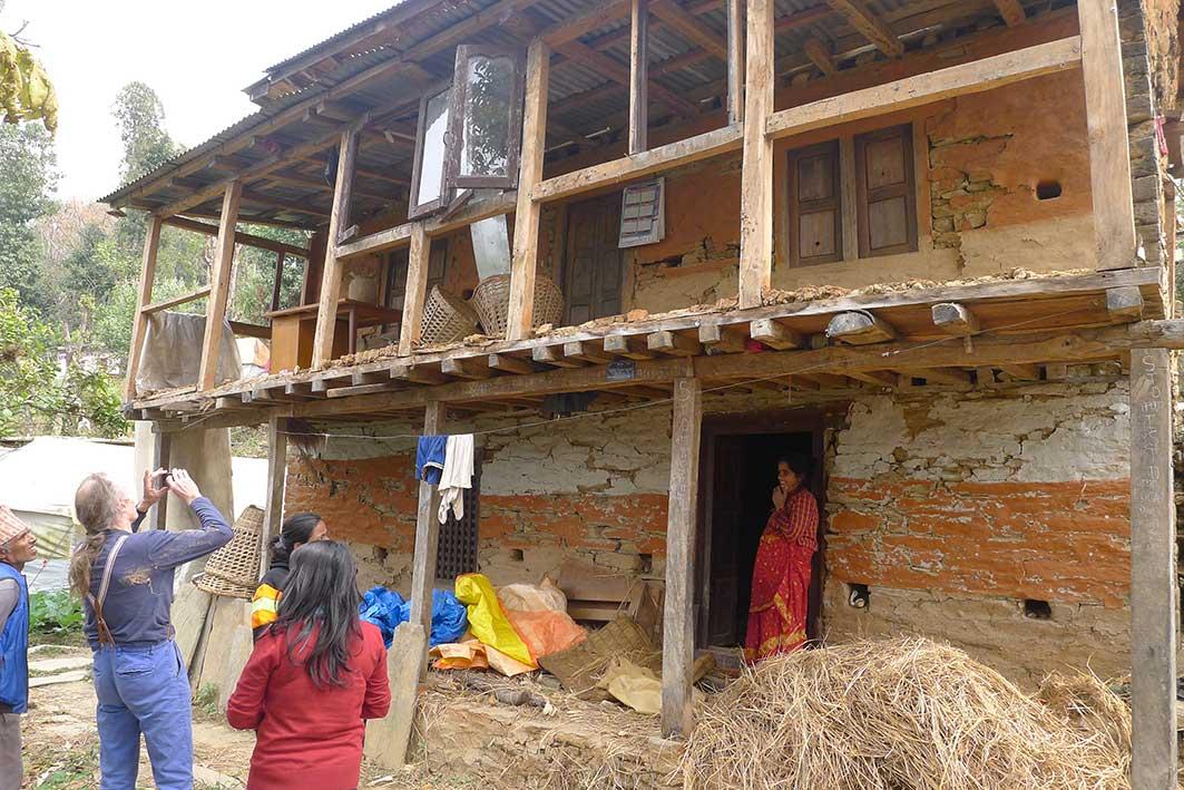Visiting damaged houses in Sana Palati in Northern Nepal