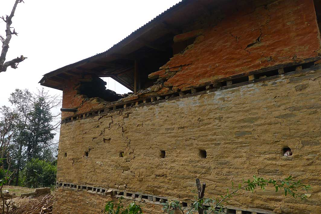 Typical damage to stone houses after the earthquake. Parts of the structure at the top could be infilled with Hempcrete to make them more flexible and lightweight.